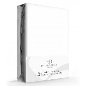 Primaviera Deluxe Katoen-Satijn Topper Hoeslaken Wit
