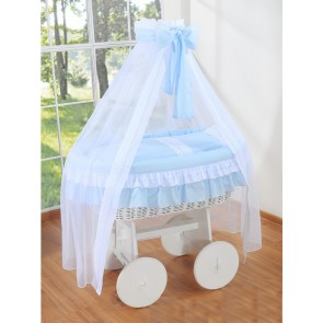 Rieten Wieg Little Angel Blauw