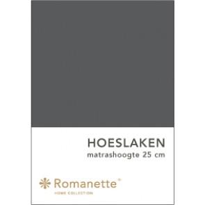 Romanette Hoeslaken Katoen Antraciet-90 x 200 cm