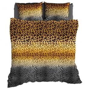 Satin d'Or Dekbedovertrek Panthera Antraciet - Oker