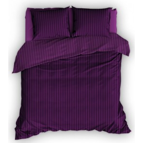 Satin d'Or dekbedovertrek Streep Purper