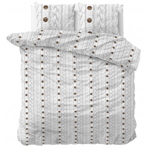 Sleeptime Dekbedovertrek Flanel Knit Buttons White