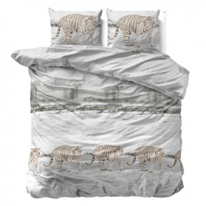 Sleeptime Dekbedovertrek Flanel Winter Tiger White