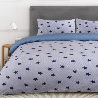 Nightlife Dekbedovertrek Flanel Star And Stripes Blauw