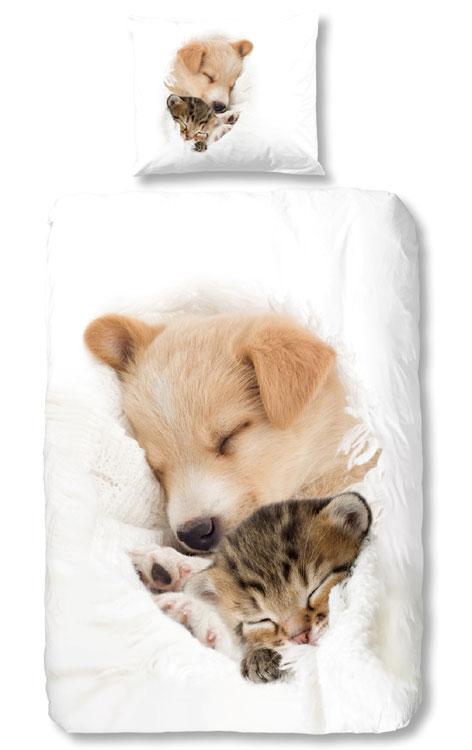 Good Morning Dekbedovertrek Hond en Kat Slapend