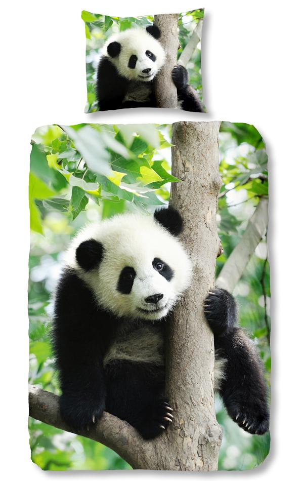 Good Morning Dekbedovertrek Panda Green