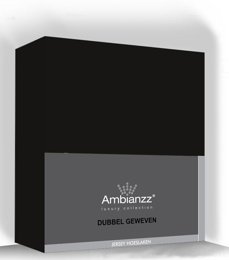 Ambianzz Hoeslaken jersey dubbel geweven zwart 90x200cm