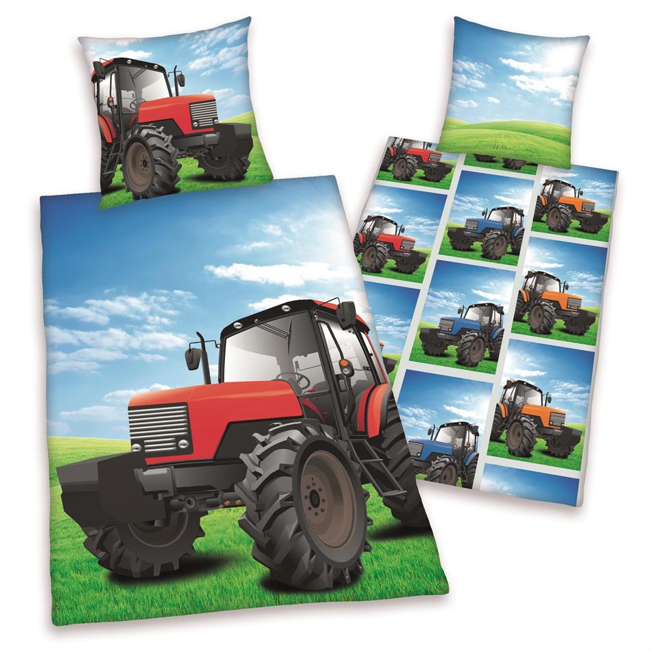 Jongens Dekbedovertrek Tractor Dubbelzijdig 140x200cm