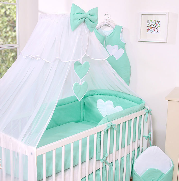 3-Delig Bedset Two Hearts Voile Mint