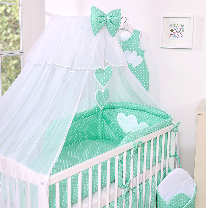 3-Delig Bedset Two Hearts Voile Mint-Dots