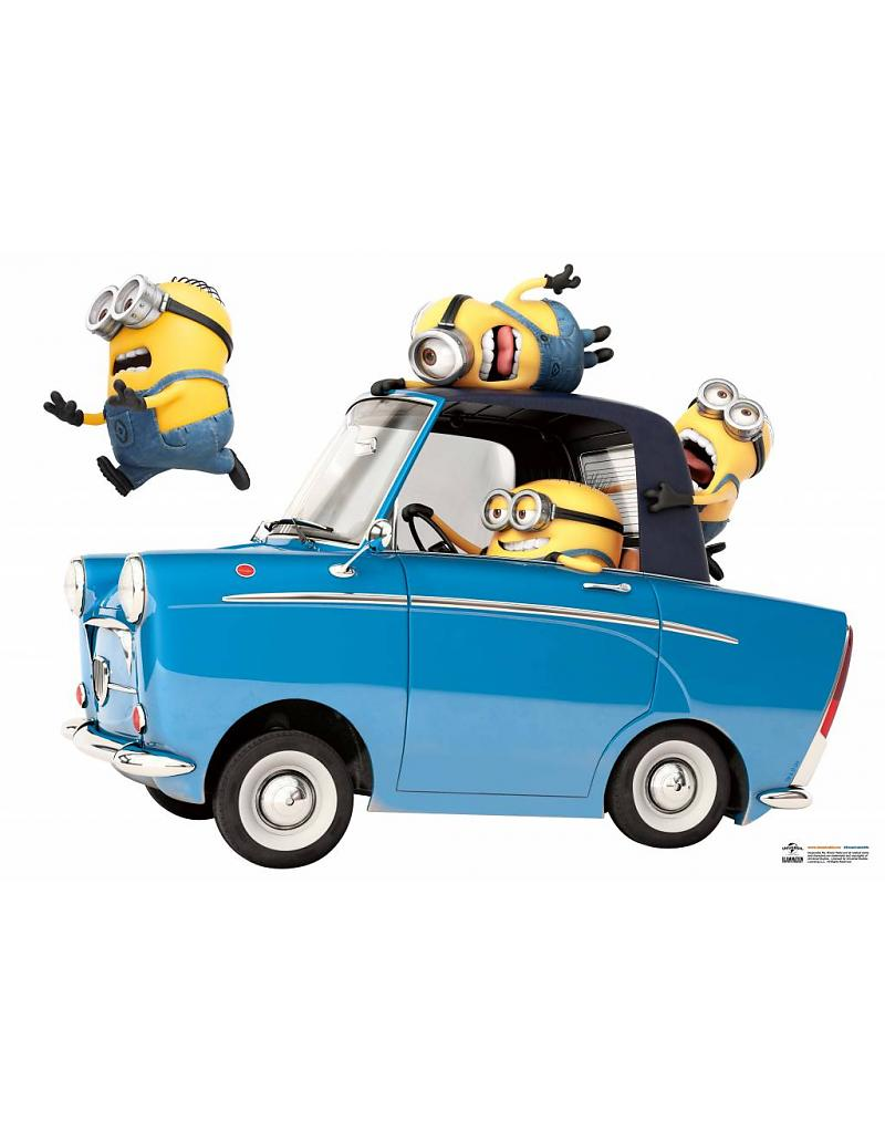 Muursticker Minions Car