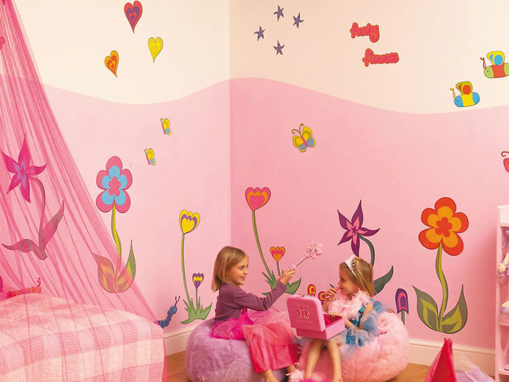 Muurstickers Funky Flowers Room make over kit