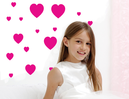 Muurstickers Love Hearts Fuchsia Mini Wall Art