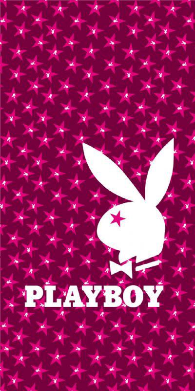 Badlaken Playboy Stars Fuchsia 75x150cm