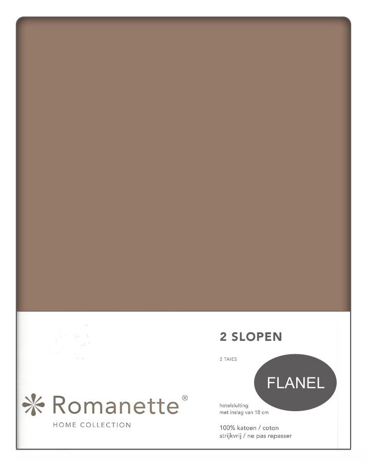 Flanellen Kussenslopen Bruin 50x50 (2 stuks)