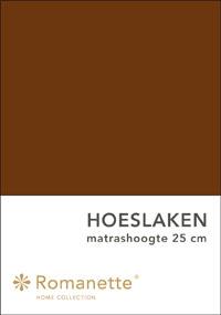 Romanette Hoeslaken Katoen Bruin-90 x 200 cm