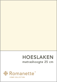 Romanette Hoeslaken Katoen Ivoor-90 x 200 cm