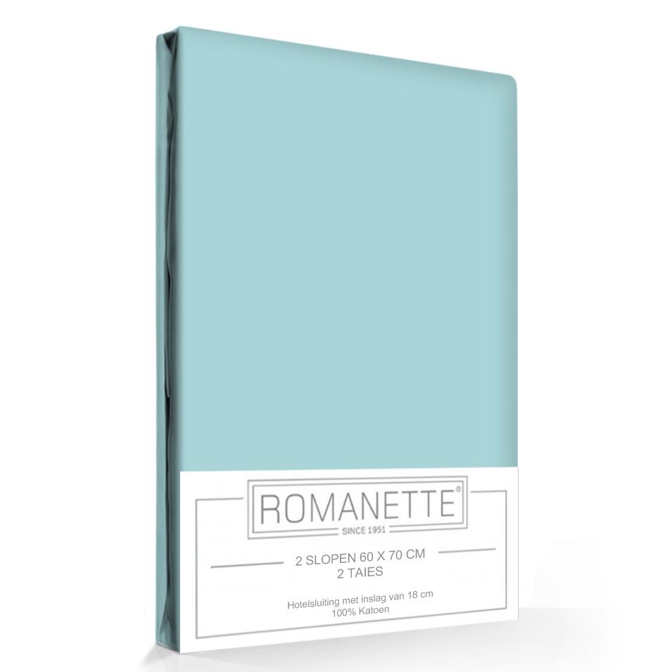 2 Kussenslopen Katoen Romanette Aqua