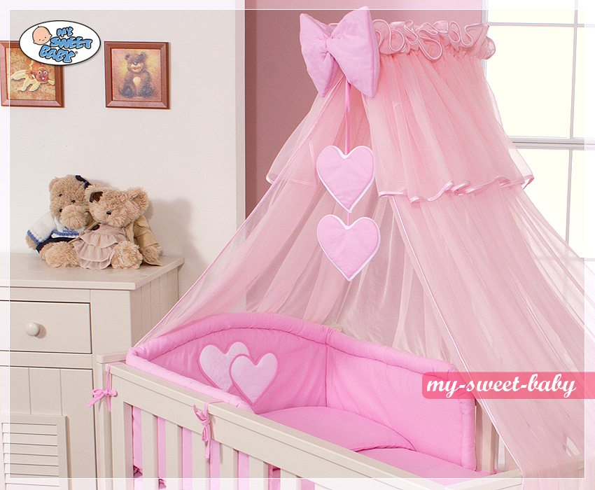 3-delig Bedset Two Hearts Roze Voile